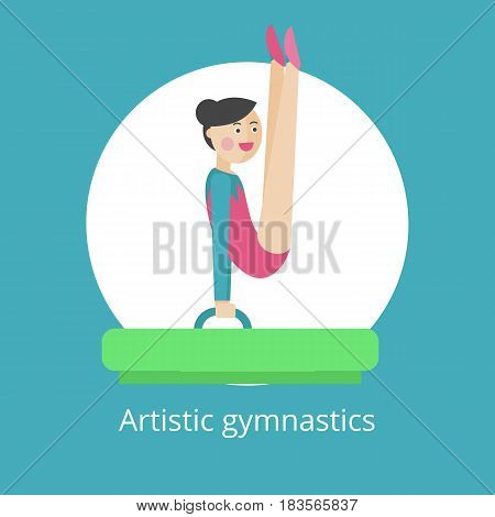 Vector icon. The girl is engaged in rhythmic gymnastics.