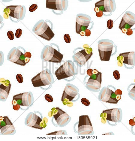 Very high quality original trendy vector seamless pattern with hazelnut and pistachio hot chocolate cup
