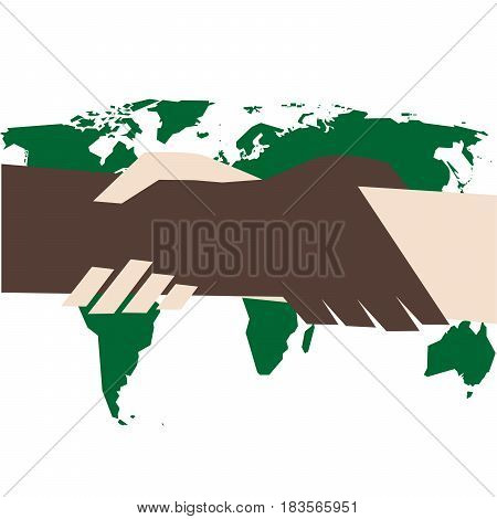 vector illustration of handshake as against racism symbol