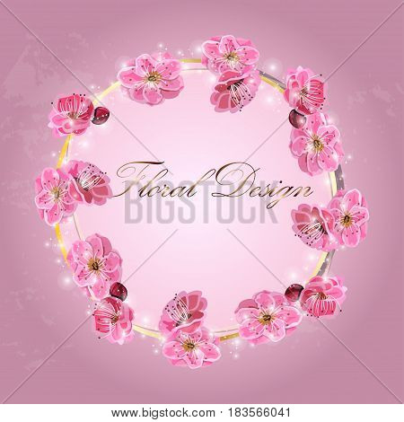 Very high quality original trendy vector illustration of Japanese plum blossom or red cherry flower and in original floral template of invitation