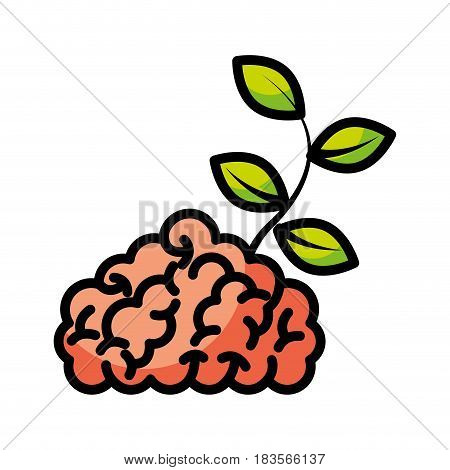 storm brain with leafs plant isolated icon vector illustration design