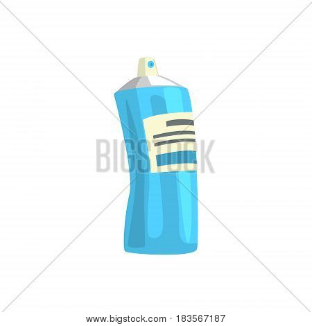 Aerosol paint blue spray bottle. Artistic equipment colorful cartoon vector Illustration isolated on a white background