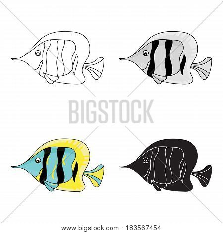 Angel fish icon in cartoon design isolated on white background. Sea animals symbol stock vector illustration.