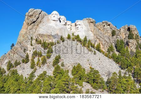 Mount Rushmore National Memorial On A Sunny Day, Usa.