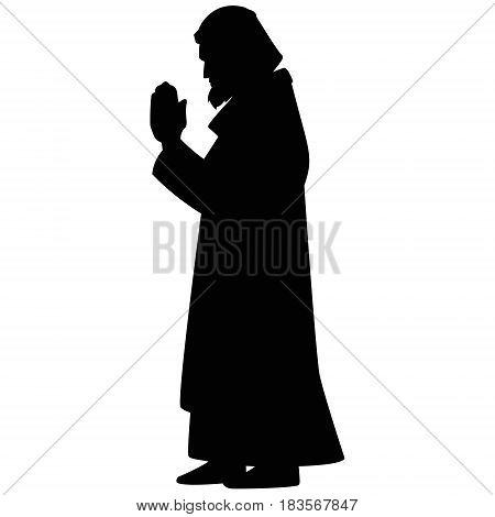 A vector illustration of Joseph saying a prayer.