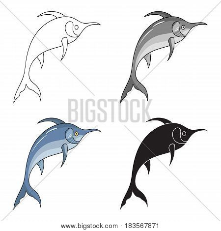 Marlin fish icon in cartoon design isolated on white background. Sea animals symbol stock vector illustration.