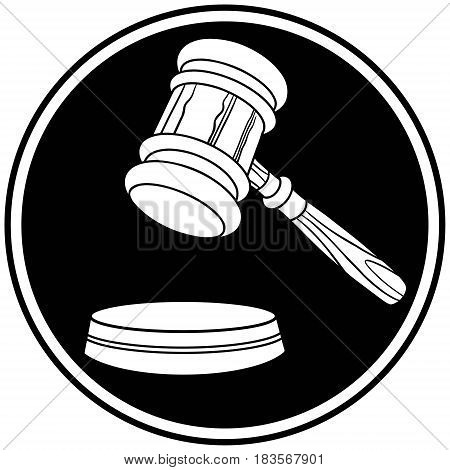 A vector illustration of a Judge Gavel icon.