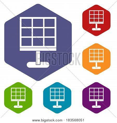 Solar battery icons set hexagon isolated vector illustration