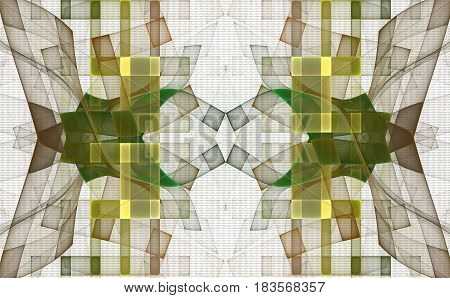 A golden and green geometric checkered fractal pattern. Can be used as a figure for a fabric on a summer dress a bag a handkerchief or a curtain.