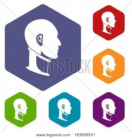 Cervical collar icons set hexagon isolated vector illustration