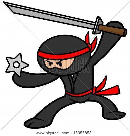 A vector illustration of a kawaii ninja.