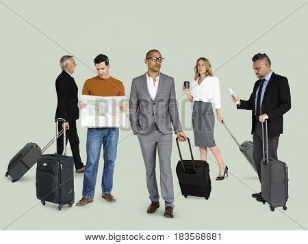 Diversity People Travel Luggage Studio Isolated