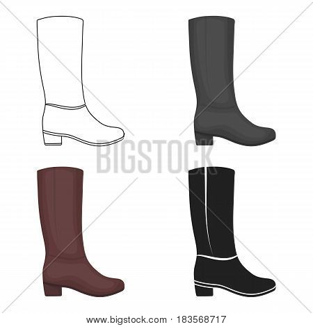 Knee high boots icon in cartoon style isolated on white background. Shoes symbol vector illustration.