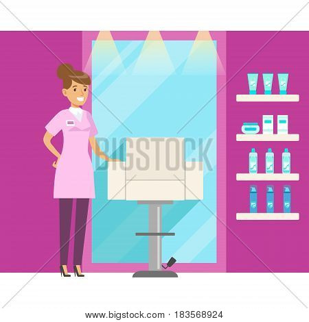 Barbershop interior in pink colors. Hair salon or barbershop interior. Colorful cartoon character vector Illustration