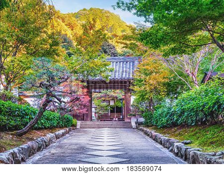 Beautiful autumn foliage in the Nanzen-ji Temple in Kyoto Japan