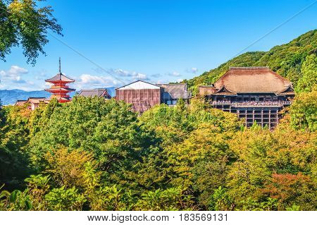 Distant View Of Kiyomizu-dera Temple Inside Green Foliage And Blue Sky Above In Kyoto, Japan