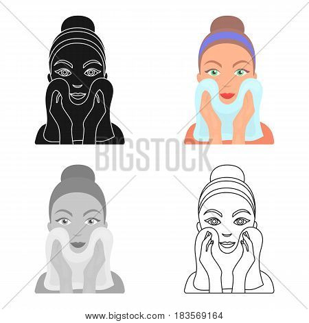 Cleaning of face skin icon in cartoon style isolated on white background. Skin care symbol vector illustration.
