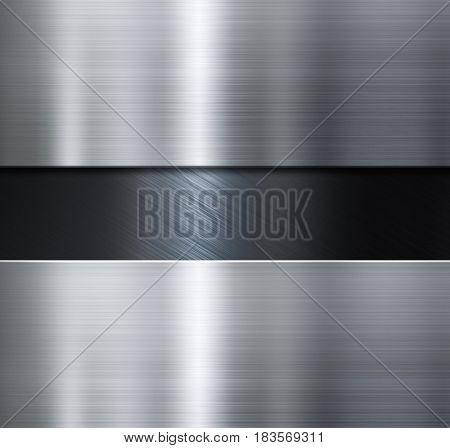 metal plates over black brushed metallic background 3d illustration