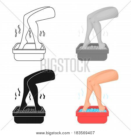 Foot bath icon in cartoon style isolated on white background. Skin care symbol vector illustration.