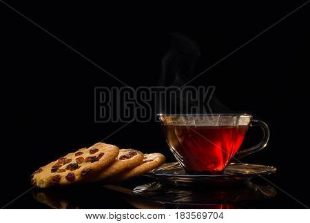 Cup of tea and mint on a wooden background aroma beverage life liquid natural raindrop smoke still vapor vapour view