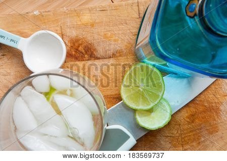 Alcoholic Drinks With Gin And Tonic On A Wood Table Background