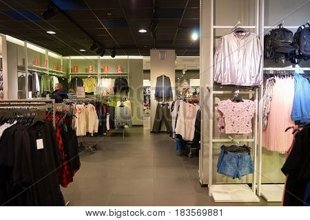 SAINT PETERSBURG, RUSSIA - CIRCA APRIL, 2017: inside a H & M store. H & M Hennes & Mauritz AB is a Swedish multinational retail-clothing company, known for its fast-fashion clothing.