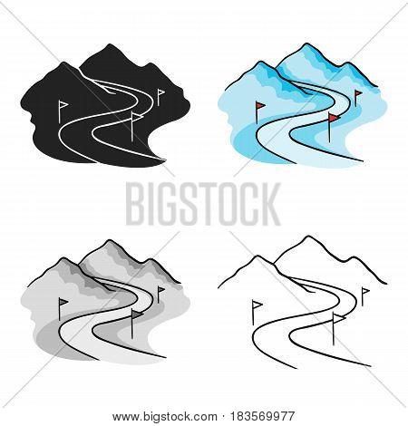 Ski track icon in cartoon style isolated on white background. Ski resort symbol vector illustration.