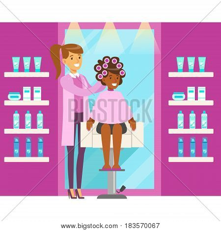 Happy woman with hair curlers. Hair salon or barbershop interior. Colorful cartoon character vector Illustration