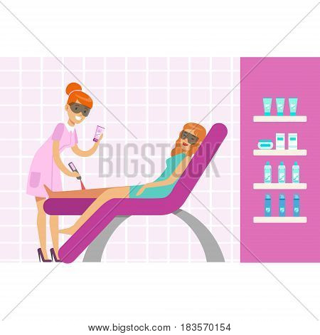 Woman having legs epilation with laser hair removal equipment. Epilation or depilation procedure. Colorful cartoon character vector Illustration