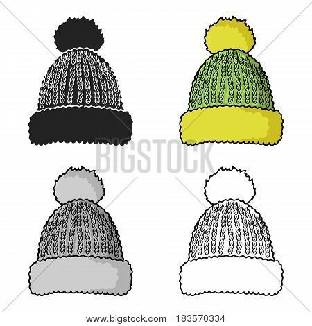 Knit cap icon in cartoon style isolated on white background. Ski resort symbol vector illustration.