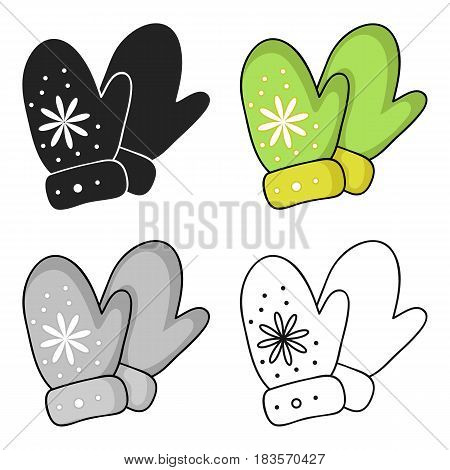 Mittens icon in cartoon style isolated on white background. Ski resort symbol vector illustration.