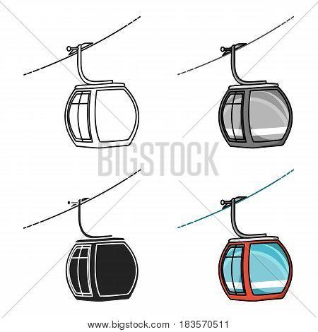 Funicular icon in cartoon style isolated on white background. Ski resort symbol vector illustration.
