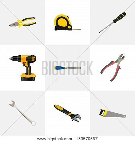 Realistic Hacksaw, Wrench, Length Roulette And Other Vector Elements. Set Of Instruments Realistic Symbols Also Includes Pliers, Screwdriver, Wrench Objects.