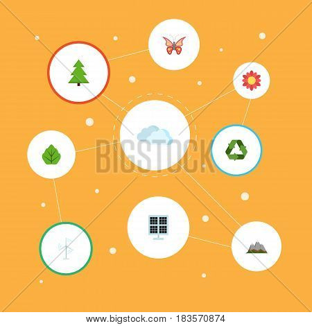 Flat Sky, Foliage, Sun Power And Other Vector Elements. Set Of Nature Flat Symbols Also Includes Blossom, Wind, Reuse Objects.