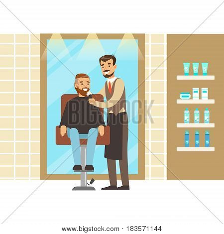 Man getting a shave from male barber at salon. Hair salon or barbershop interior. Colorful cartoon character vector Illustration