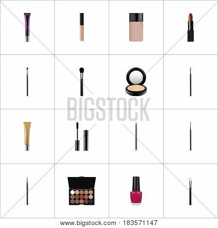 Realistic Multicolored Palette, Contour Style Kit, Beauty Accessory And Other Vector Elements. Set Of Maquillage Realistic Symbols Also Includes Makeup, Lips, Pomade Objects.