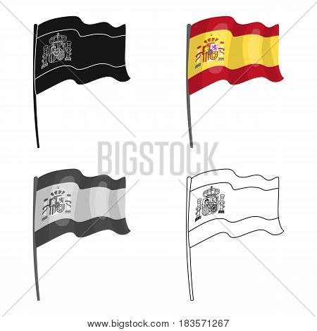 Flag of Spain icon in cartoon design isolated on white background. Spain country symbol stock vector illustration.