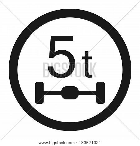 Maximum Axle Load 5 tones line icon, Traffic and road sign, vector graphics, a solid pattern on a white background, eps 10.