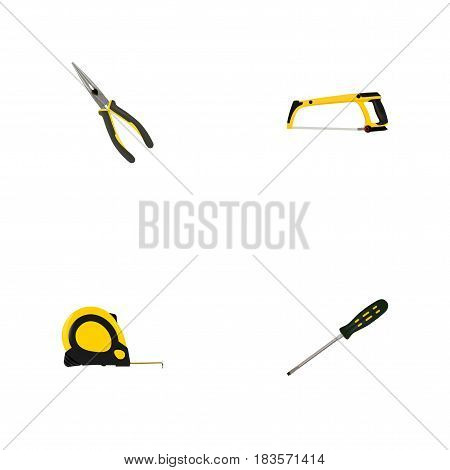 Realistic Nippers, Arm-Saw, Carpenter And Other Vector Elements. Set Of Construction Realistic Symbols Also Includes Nippers, Tape, Roller Objects.