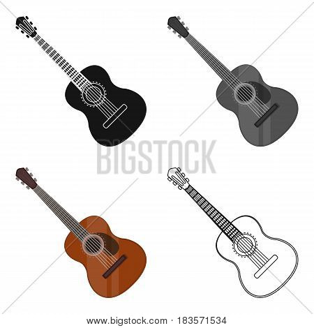 Spanish acoustic guitar icon in cartoon design isolated on white background. Spain country symbol stock vector illustration.