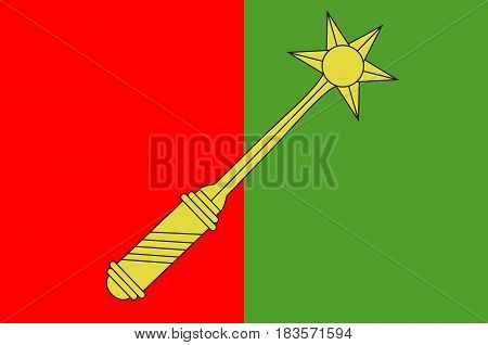 Flag of Colmar is the third-largest commune of the Alsace region in north-eastern France. Vector illustration