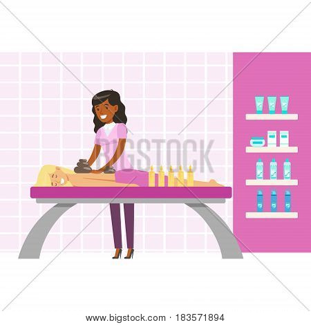 Woman having a relaxing massage with massage oil in a spa. Health massage healing concept. Colorful cartoon character isolated on a white background