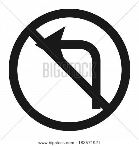 No left prohibition turn sign line icon, Traffic and road sign, vector graphics, a solid pattern on a white background, eps 10.