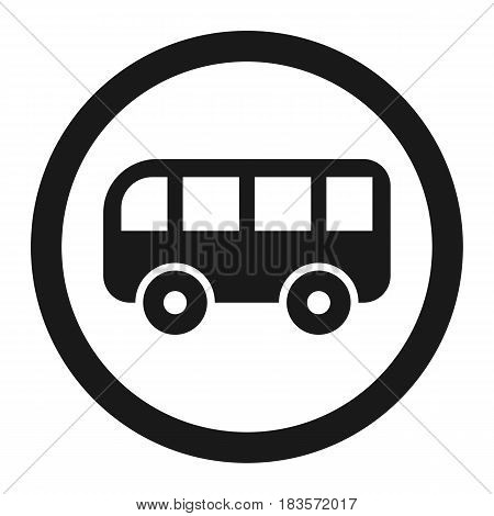 No bus prohibition sign line icon, Traffic and road sign, vector graphics, a solid pattern on a white background, eps 10.