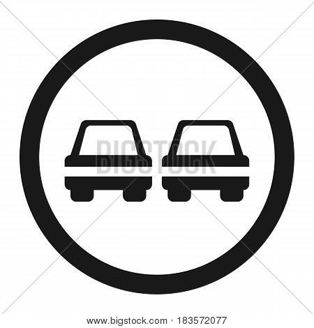 No Overtaking prohibited sign line icon, Traffic and road sign, vector graphics, a solid pattern on a white background, eps 10.