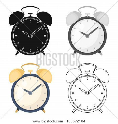 Bedside clock icon in cartoon design isolated on white background. Sleep and rest symbol stock vector illustration.