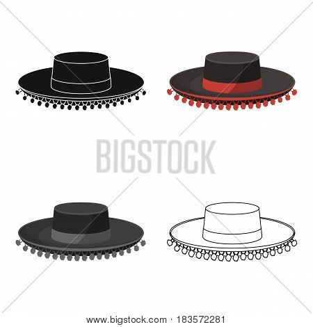 Traditional spanish hat icon in cartoon design isolated on white background. Spain country symbol stock vector illustration.