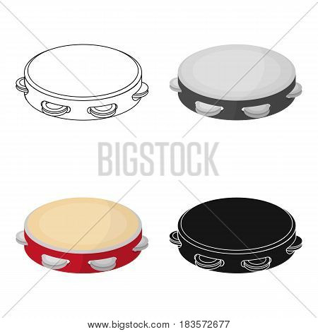 Tambourine icon in cartoon design isolated on white background. Spain country symbol stock vector illustration.