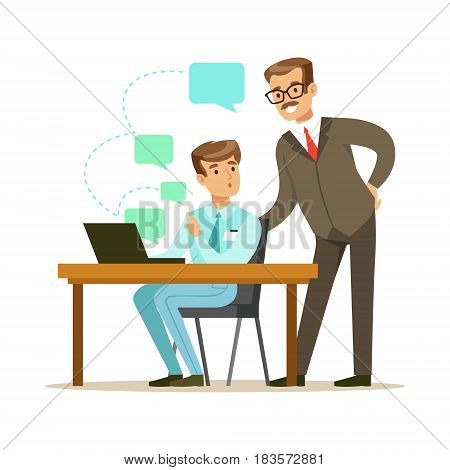 Two businessmen working together in office. Subordinate and boss. Positive working in the office. Colorful cartoon character vector Illustration