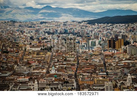 The panoramatic view of Quito city capital of Ecuador